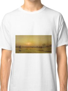 Martin Johnson Heade - Marsh Sunset, Newburyport, Massachusetts. Field landscape: field landscape, nature, village, garden, flowers, trees, sun, rustic, countryside, sky and clouds, summer Classic T-Shirt