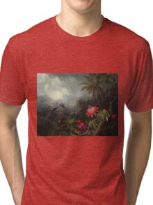 Martin Johnson Heade - Martin Johnson Heade. Garden landscape: garden view, trees and flowers, blossom,  lotus blossom, botanical park, orchid, wonderful flowers, sky, passion, magnolias, hummingbird Tri-blend T-Shirt
