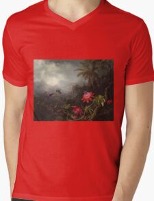 Martin Johnson Heade - Martin Johnson Heade. Garden landscape: garden view, trees and flowers, blossom,  lotus blossom, botanical park, orchid, wonderful flowers, sky, passion, magnolias, hummingbird Mens V-Neck T-Shirt