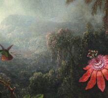 Martin Johnson Heade - Martin Johnson Heade. Garden landscape: garden view, trees and flowers, blossom,  lotus blossom, botanical park, orchid, wonderful flowers, sky, passion, magnolias, hummingbird Sticker