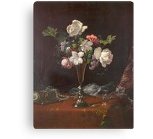 Martin Johnson Heade - Mixed Flowers With A Box And Pearls. Still life with flowers: flowers, hummingbird, nest, orchid,  lotus blossom, wonderful flower, forest, passion flowers, garden, magnolias Canvas Print
