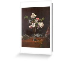 Martin Johnson Heade - Mixed Flowers With A Box And Pearls. Still life with flowers: flowers, hummingbird, nest, orchid,  lotus blossom, wonderful flower, forest, passion flowers, garden, magnolias Greeting Card