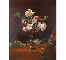 Martin Johnson Heade - Mixed Flowers With A Box And Pearls. Still life with flowers: flowers, hummingbird, nest, orchid,  lotus blossom, wonderful flower, forest, passion flowers, garden, magnolias Photographic Print
