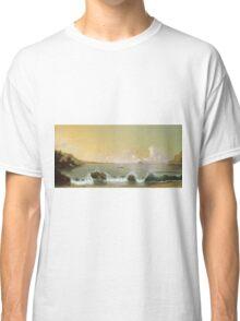Martin Johnson Heade - Rio De Janeiro Bay. Seashore landscape: sea view, yachts, holiday, sailing boat, coast seaside, waves and beach, marine, seascape, sun and clouds, nautical panorama, ocean Classic T-Shirt
