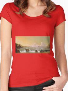 Martin Johnson Heade - Rio De Janeiro Bay. Seashore landscape: sea view, yachts, holiday, sailing boat, coast seaside, waves and beach, marine, seascape, sun and clouds, nautical panorama, ocean Women's Fitted Scoop T-Shirt