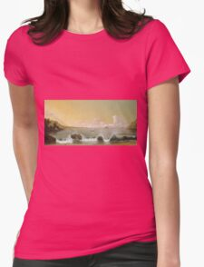 Martin Johnson Heade - Rio De Janeiro Bay. Seashore landscape: sea view, yachts, holiday, sailing boat, coast seaside, waves and beach, marine, seascape, sun and clouds, nautical panorama, ocean Womens Fitted T-Shirt