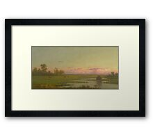 Martin Johnson Heade - Salt Marsh At Southport, Connecticut 1862. Field landscape: field landscape, nature, village, garden, flowers, trees, sun, rustic, countryside, sky and clouds, summer Framed Print