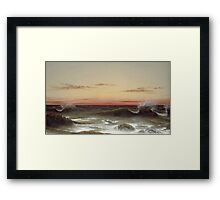 Martin Johnson Heade - Seascape Sunset. Sea landscape: sea view, naval yachts, navy holiday, sailing boat, coast seaside, waves and beach, marin, seascape, sun clouds, nautical panorama, ocean Framed Print