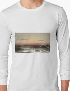 Martin Johnson Heade - Seascape Sunset. Sea landscape: sea view, naval yachts, navy holiday, sailing boat, coast seaside, waves and beach, marin, seascape, sun clouds, nautical panorama, ocean Long Sleeve T-Shirt