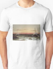 Martin Johnson Heade - Seascape Sunset. Sea landscape: sea view, naval yachts, navy holiday, sailing boat, coast seaside, waves and beach, marin, seascape, sun clouds, nautical panorama, ocean Unisex T-Shirt