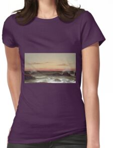 Martin Johnson Heade - Seascape Sunset. Sea landscape: sea view, naval yachts, navy holiday, sailing boat, coast seaside, waves and beach, marin, seascape, sun clouds, nautical panorama, ocean Womens Fitted T-Shirt