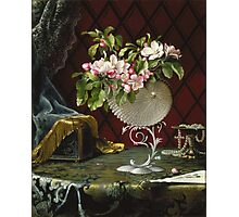 Martin Johnson Heade - Still Life With Apple Blossoms In A Nautilus Shell. Still life with flowers: Apple Blossoms, natural pearls, orchid,  lotus blossom, wonderful flower,  passion garden, magnolias Photographic Print