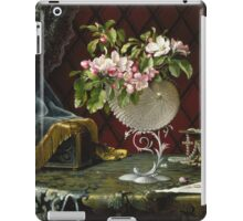 Martin Johnson Heade - Still Life With Apple Blossoms In A Nautilus Shell. Still life with flowers: Apple Blossoms, natural pearls, orchid,  lotus blossom, wonderful flower,  passion garden, magnolias iPad Case/Skin