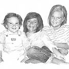 Three young siblings drawing by Mike Theuer