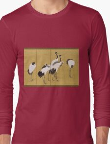 Maruyama okyo - First Of A Pair Of 6 Panel Screens. Bird painting: cute fowl, fly, wings, lucky, pets, wild life, animal, birds, little small, bird, nature Long Sleeve T-Shirt