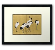 Maruyama okyo - First Of A Pair Of 6 Panel Screens. Bird painting: cute fowl, fly, wings, lucky, pets, wild life, animal, birds, little small, bird, nature Framed Print