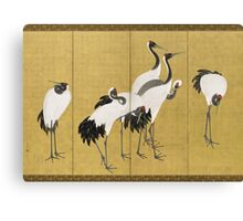 Maruyama okyo - First Of A Pair Of 6 Panel Screens. Bird painting: cute fowl, fly, wings, lucky, pets, wild life, animal, birds, little small, bird, nature Canvas Print
