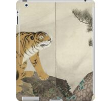 Maruyama okyo - Tiger. portrait Tiger: tiger on the tree, tree, striped, nature, strong, beast, animal, predator, mountain,  mountain tree, fly iPad Case/Skin