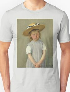 Mary Cassatt - Child In A Straw Hat. Girl portrait: cute girl, girly, hat, pretty angel, child, beautiful dress, headdress, smile, little, kids, baby Unisex T-Shirt