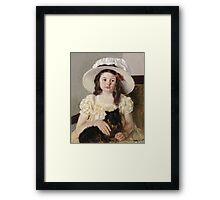 Mary Cassatt - Francoise Holding A Little Black Dog. Girl portrait: cute girl, girly, hat, pretty angel, child, beautiful dress, headdress, smile, little, dog, baby Framed Print