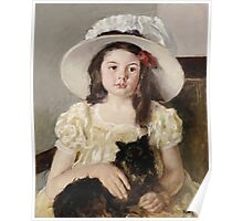 Mary Cassatt - Francoise Holding A Little Black Dog. Girl portrait: cute girl, girly, hat, pretty angel, child, beautiful dress, headdress, smile, little, dog, baby Poster
