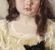 Mary Cassatt - Francoise Holding A Little Black Dog. Girl portrait: cute girl, girly, hat, pretty angel, child, beautiful dress, headdress, smile, little, dog, baby Sticker