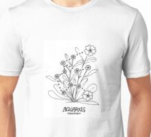 Floral Constellation - Aquarius Unisex T-Shirt
