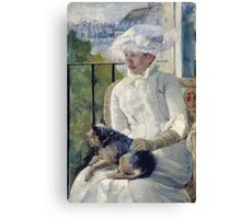 Mary Cassatt - Young Girl At A Window. Girl portrait: Young Girl, girly, female, white dress, headdress, beautiful dress, face with hairs, smile, dog, Window, view Canvas Print
