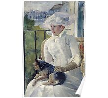 Mary Cassatt - Young Girl At A Window. Girl portrait: Young Girl, girly, female, white dress, headdress, beautiful dress, face with hairs, smile, dog, Window, view Poster