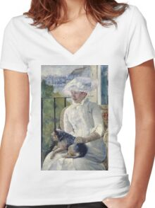 Mary Cassatt - Young Girl At A Window. Girl portrait: Young Girl, girly, female, white dress, headdress, beautiful dress, face with hairs, smile, dog, Window, view Women's Fitted V-Neck T-Shirt
