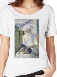 Mary Cassatt - Young Girl At A Window. Girl portrait: Young Girl, girly, female, white dress, headdress, beautiful dress, face with hairs, smile, dog, Window, view Women's Relaxed Fit T-Shirt