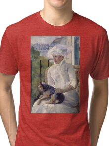 Mary Cassatt - Young Girl At A Window. Girl portrait: Young Girl, girly, female, white dress, headdress, beautiful dress, face with hairs, smile, dog, Window, view Tri-blend T-Shirt