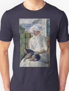 Mary Cassatt - Young Girl At A Window. Girl portrait: Young Girl, girly, female, white dress, headdress, beautiful dress, face with hairs, smile, dog, Window, view Unisex T-Shirt