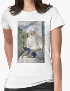 Mary Cassatt - Young Girl At A Window. Girl portrait: Young Girl, girly, female, white dress, headdress, beautiful dress, face with hairs, smile, dog, Window, view Womens Fitted T-Shirt