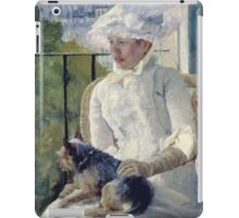 Mary Cassatt - Young Girl At A Window. Girl portrait: Young Girl, girly, female, white dress, headdress, beautiful dress, face with hairs, smile, dog, Window, view iPad Case/Skin