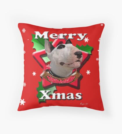 Merry Xmas from Bull Terrier Throw Pillow