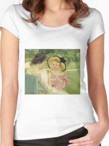 Mary Cassatt - In The Garden. Mother with kid portrait: cute girl, mother and daughter,  Garden, girly, headdress, beautiful dress, lovely family, mothers day, memory, mom mum mam, face with hairs Women's Fitted Scoop T-Shirt