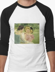 Mary Cassatt - In The Garden. Mother with kid portrait: cute girl, mother and daughter,  Garden, girly, headdress, beautiful dress, lovely family, mothers day, memory, mom mum mam, face with hairs Men's Baseball ¾ T-Shirt
