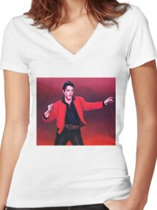 Elvis Presley 4 Painting Women's Fitted V-Neck T-Shirt