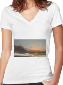 James Hamilton - Evening On The Seashore, 1867. Seashore landscape: sea view, Seashore, holiday, sunset, coast seaside, waves and beach, Evening , seascape, sun and clouds, mountain, ocean Women's Fitted V-Neck T-Shirt