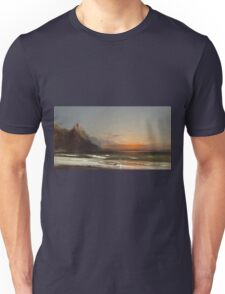 James Hamilton - Evening On The Seashore, 1867. Seashore landscape: sea view, Seashore, holiday, sunset, coast seaside, waves and beach, Evening , seascape, sun and clouds, mountain, ocean Unisex T-Shirt