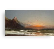 James Hamilton - Evening On The Seashore, 1867. Seashore landscape: sea view, Seashore, holiday, sunset, coast seaside, waves and beach, Evening , seascape, sun and clouds, mountain, ocean Canvas Print