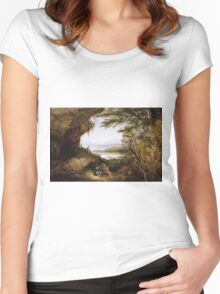James Hamilton - Scene On The Hudson . Mountains landscape: mountains, rocks, rocky nature, sky and clouds, trees, peak, forest, rustic, hill, travel, hillside Women's Fitted Scoop T-Shirt