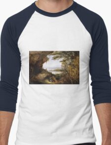 James Hamilton - Scene On The Hudson . Mountains landscape: mountains, rocks, rocky nature, sky and clouds, trees, peak, forest, rustic, hill, travel, hillside Men's Baseball ¾ T-Shirt