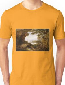 James Hamilton - Scene On The Hudson . Mountains landscape: mountains, rocks, rocky nature, sky and clouds, trees, peak, forest, rustic, hill, travel, hillside Unisex T-Shirt