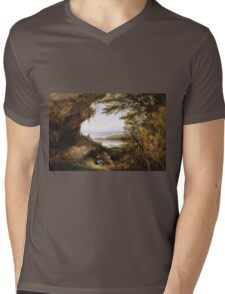 James Hamilton - Scene On The Hudson . Mountains landscape: mountains, rocks, rocky nature, sky and clouds, trees, peak, forest, rustic, hill, travel, hillside Mens V-Neck T-Shirt