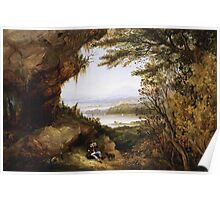 James Hamilton - Scene On The Hudson . Mountains landscape: mountains, rocks, rocky nature, sky and clouds, trees, peak, forest, rustic, hill, travel, hillside Poster