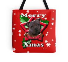Staffordshire Bull Terrier says Merry Xmas Tote Bag