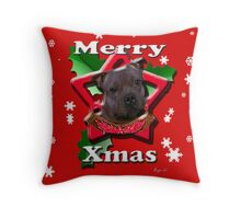 Staffordshire Bull Terrier says Merry Xmas Throw Pillow