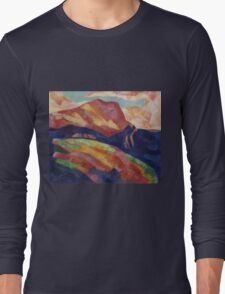 Marsden Hartley - Mont Sainte-Victoire. Mountains landscape: mountains, rocks, rocky nature, sky and clouds, trees, peak, forest, rustic, hill, travel, hillside Long Sleeve T-Shirt